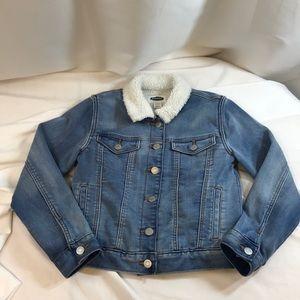 Old Navy Girls Blue Denim Jeans Jacket Sherpa